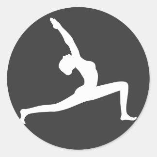 Yoga White Silhouette Woman Posing Round Sticker