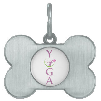 yoga with a pink lotus pet ID tag