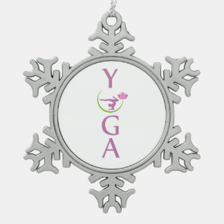 yoga with a pink lotus snowflake pewter christmas ornament