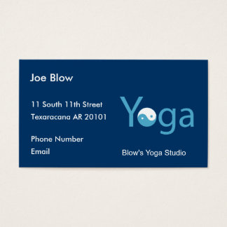 Yoga with Yin Yang in blue Business Card