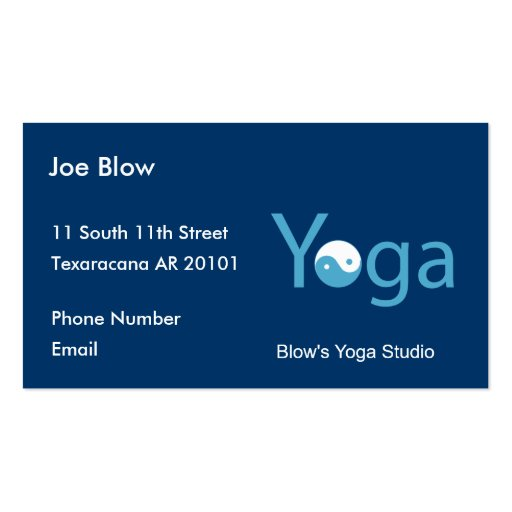 Yoga with Yin Yang in blue Business Card Templates