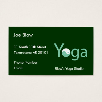 Yoga with Yin Yang in green Business Card
