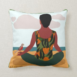 Yoga woman by sea with bird throw pillow