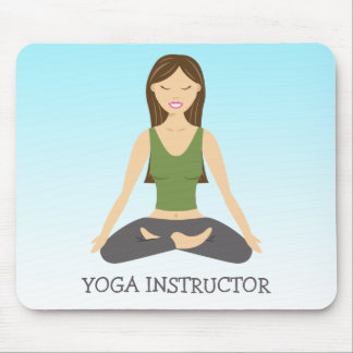 Yoga Woman In Lotus Pose And Yoga Instructor Text Mouse Pad