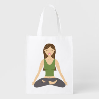 Yoga Woman In Lotus Pose Reusable Grocery Bag