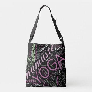 Yoga Word Cloud Plum/Green ID254 Crossbody Bag