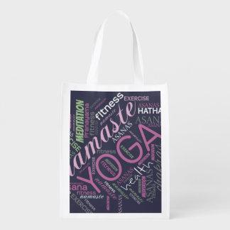 Yoga Word Cloud Plum/Green ID254 Reusable Grocery Bag