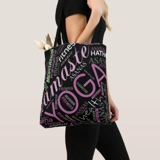 Yoga Word Cloud Plum/Green ID254 Tote Bag