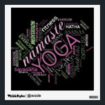"""Yoga Word Cloud Plum/Green ID254 Wall Sticker<br><div class=""""desc"""">This unique wall decal features a text design in shades of plum,  green,  and grey for your choice of any colored background. Some of the words included are &#39;Namaste,  yoga,  exercise,  chakras,  asanas,  fitness,  meditation and more. Search ID254 to see other products with this design.</div>"""