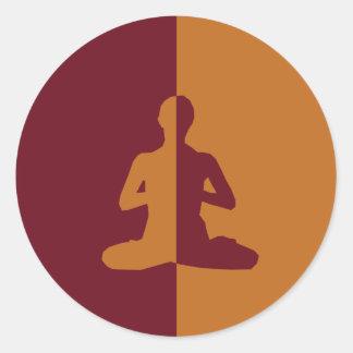 yoga y meditación pegatina redonda