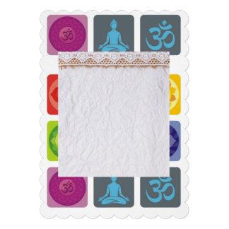"""yoga, zen, ohmio, chakra, curando, curador, yogui, invitación 5"""" x 7"""""""
