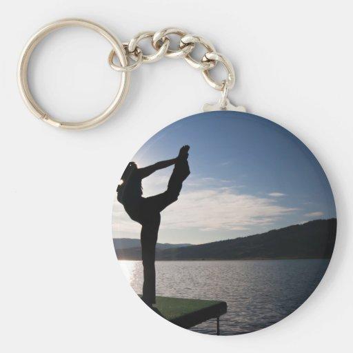yoga, zen y paz llavero redondo tipo pin