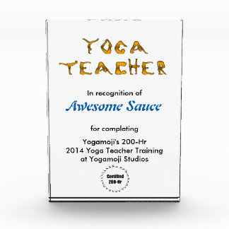 Yogamoji™ Yoga Teacher Certification Display Acrylic Award