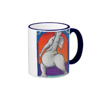 Yogaphant 4 Blue Handled Ringer Mug