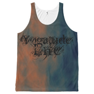 Yogatude Life Rust Red and Slate Blue Yoga Top All-Over Print Tank Top