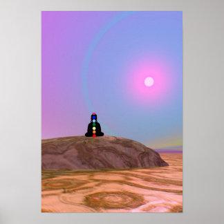Yogi alien yoga chakra shamanism chakras abstrakt poster