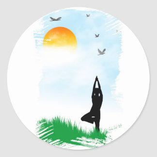 Yogi meditating classic round sticker