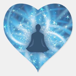 Yogi meditating heart sticker