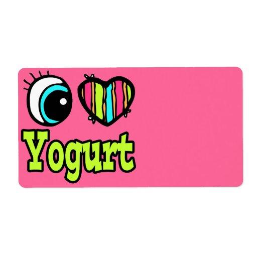 Yogur brillante del amor del corazón I del ojo Etiquetas De Envío