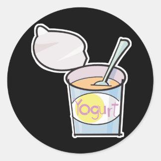 yogur delicioso pegatina redonda