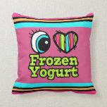 Yogurt congelado del ojo del amor brillante del co cojines