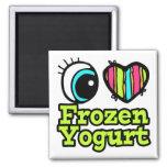 Yogurt congelado del ojo del amor brillante del co imanes