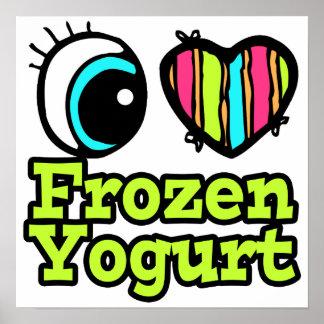 Yogurt congelado del ojo del amor brillante del co póster