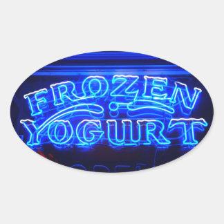 Yogurt congelado en Florencia Pegatina Ovalada