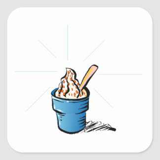 Yogurt congelado pegatina cuadrada