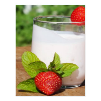 yogurt with fruit on a board postcard