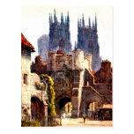 Yok Minster Bootham Bar Entrance Color Cathedral Post Cards