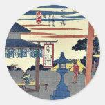Yokkaichi por Ando, Hiroshige Ukiyoe Etiqueta Redonda