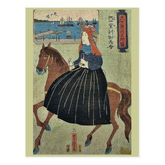 Yokohama American beauty by Utagawa,Yoshitora Postcard