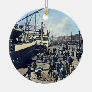 Yokohama Harbor Japan Vintage Shipping 横浜港 Ceramic Ornament