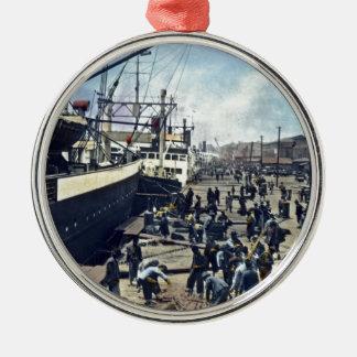 Yokohama Harbor Japan Vintage Shipping 横浜港 Metal Ornament