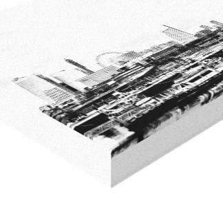 Yokohama in Black and White Stretched Canvas Prints