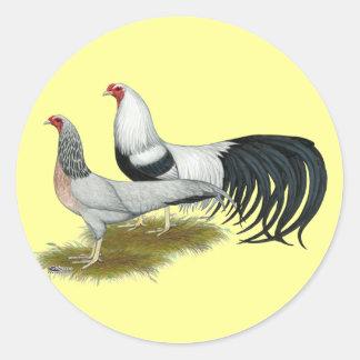 Yokohama:  Silver Duckwing Pair Classic Round Sticker