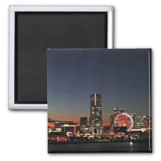 Yokohama Skyline at Night 2 Inch Square Magnet