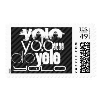 Yolo; Black & Dark Gray Stripes Postage