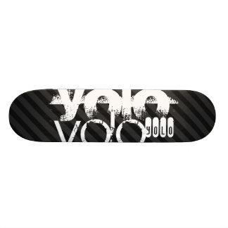 Yolo; Black & Dark Gray Stripes Skateboard Deck