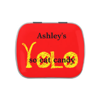 YOLO CANDY ,yellow red black Candy Tins