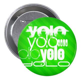 Yolo; Neon Green Stripes Pinback Button