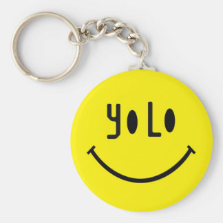 Yolo Smiley Face Basic Round Button Keychain