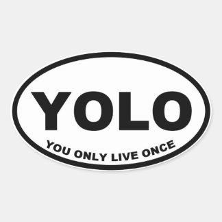 YOLO usted vive solamente una vez Calcomanías Ovales