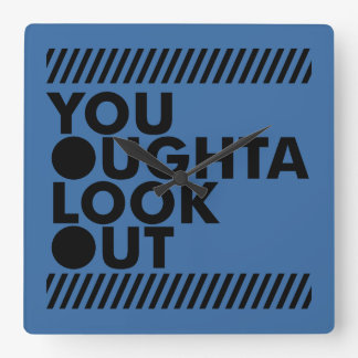 YOLO w/ Caution Square Wall Clock