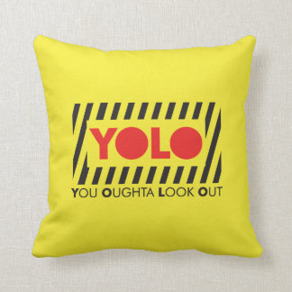 YOLO w/ Red Caution Throw Pillow