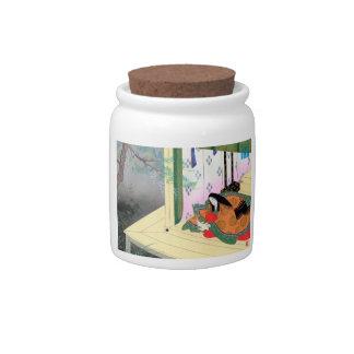 Yomogyu The Tale of Genji japanese lady scenery Candy Jar