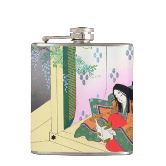 Yomogyu The Tale of Genji japanese lady scenery Hip Flasks