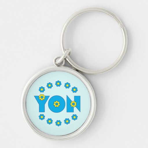 Yon in Flores Blue Silver-Colored Round Keychain
