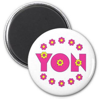 Yon in Flores Pink Fridge Magnet